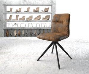 Drehstuhl Vinjo-Flex Braun Vintage Kreuzgestell kantig schwarz