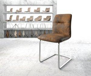 Esszimmerstuhl Vinjo-Flex Braun Vintage Freischwinger rund Edelstahl