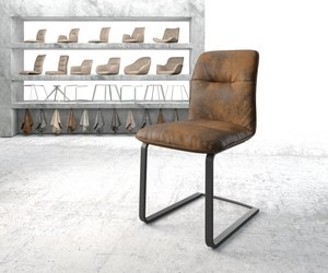 Esszimmerstuhl Vinjo-Flex Braun Vintage Freischwinger flach schwarz