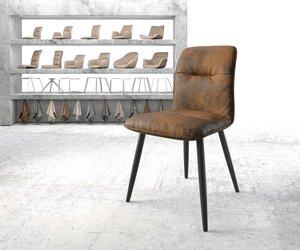 Esszimmerstuhl Vinjo-Flex Braun Vintage 4-Fuß konisch Schwarz