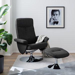 loftscape Relaxsessel Selfors II Dunkelgrau Webstoff mit Hocker/Relaxfunktion 78x104x78 cm (BxHxT)