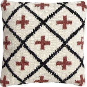 home24 twentyfour Dekokissen Fido Creme/Schwarz/Terra 45x45 cm (BxH) Baumwollstoff
