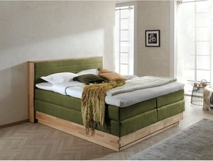 Naturoo Boxspringbett Moneta 160x200 cm Webstoff/Massivholz Eiche Altgrün mit Bettkästen/Matratze