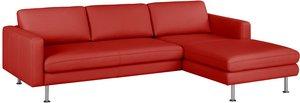 home24 Fredriks Ecksofa Bivona II Rot Echtleder 236x77x165 cm (BxHxT) Modern