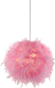 Nino Leuchten Pendelleuchte Ducky IV Federn/Papier Pink Glamour Dimmbar Rund Ø 30 cm 1-flammig E27