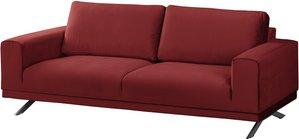 home24 Jack & Alice Sofa Lorcy 2,5-Sitzer Rot Samt 216x81x89 cm