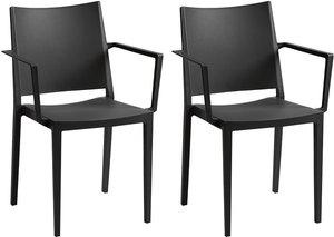Stuhl mit Armlehnen 2er-Set TOXA - Stapelbar - Polypropylen - Schwarz