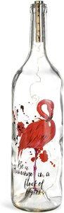 Lichtobjekt Flasche Flamingo ca. H, klar