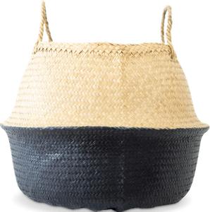 Korb aus geflochtenem Seegras dunkelblau  (Seegraskorb dunkelblau getaucht)