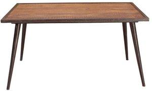 Esstisch IRON-14 140x70x76cm burnt oak-color mit antikschwarz Mangoholz mit Altmetall